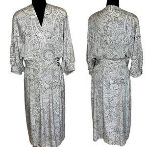 VTG Liz Claiborne White Black Maxi Wrap Dress 12